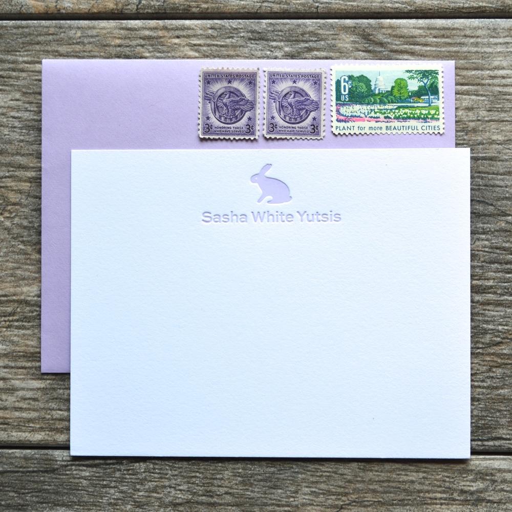 bunny letterpress cards