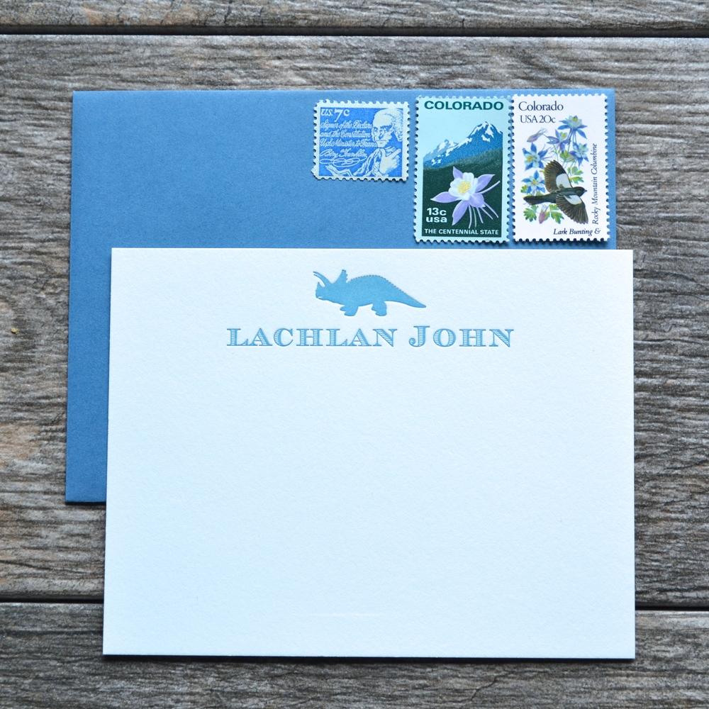 dinosaur letterpress cards