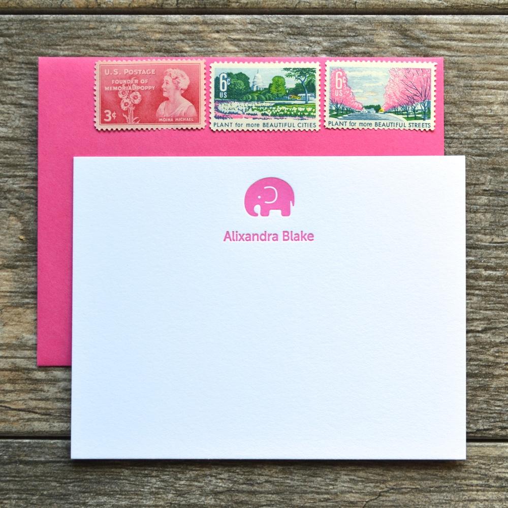 elephant letterpress cards