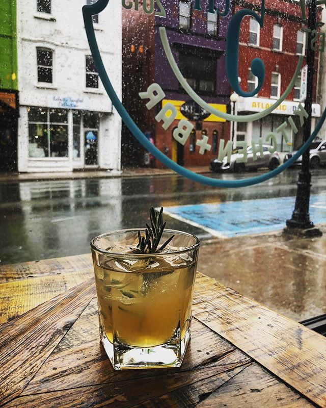 Rosemary in the Rain from @owen1995 !  Canadian Club 100% Rye, Chartreuse, St. Germain, Rosemary Syrup, Lemon Juice, White Cranberry Juice. #tasty #cocktailfeature