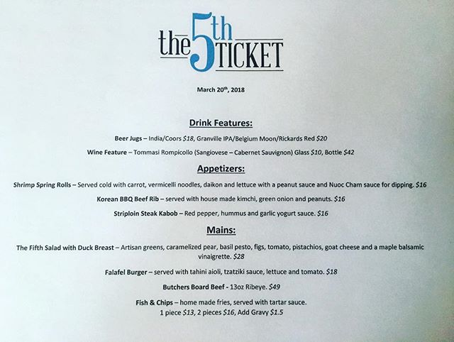 Tonight's features! Kitchen open until 9pm! #yyt #supportlocal #features