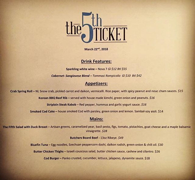 Tonight's features @thefifthticket #supportlocal #eatlocal #nl #yyt #stjohns #features #foodiegram #explorenl #food
