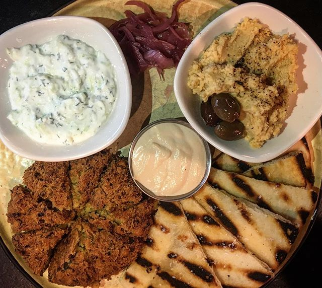 Check out this beautiful shareable, on feature this weekend! Felafel, hummus, black garlic tahini, tzatziki sauce, picked onion and naan bread! #YUM #shareables #weekendfeatures #yyt