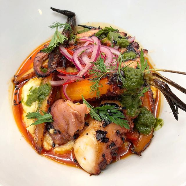 A lot of new and exciting dishes from our crew as we work on our new summer menu! Being featured this week from Sous Chef @nickallman88 is grilled octopus with butter bean hummus, roasted organic carrots, chermoula dressing and salsa criolla 🐙 #feature #newmenucomingsoon #yyt #octopus