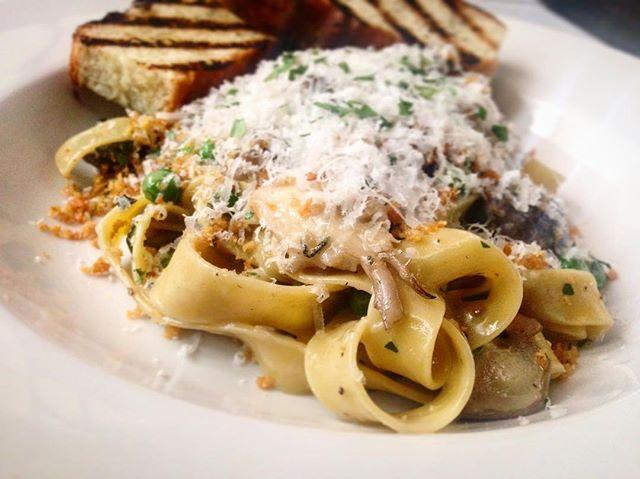 Another new menu item ❗️ Mushroom tagliatelle. House rolled pasta, wild mushroom truffle butter, parmesan and bread crumb. #newmenu #pasta #supportlocal @reath86