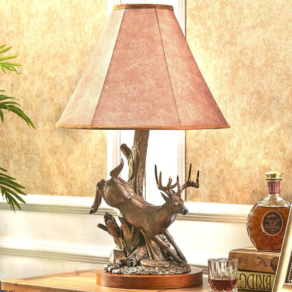 John Parsons Signature Jumping Whitetail Deer Lamp