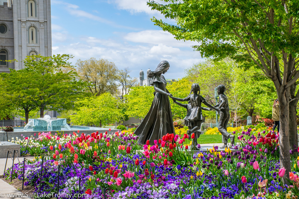 Temple Square garden statues on Trolley Tour of Salt Lake City.jpg