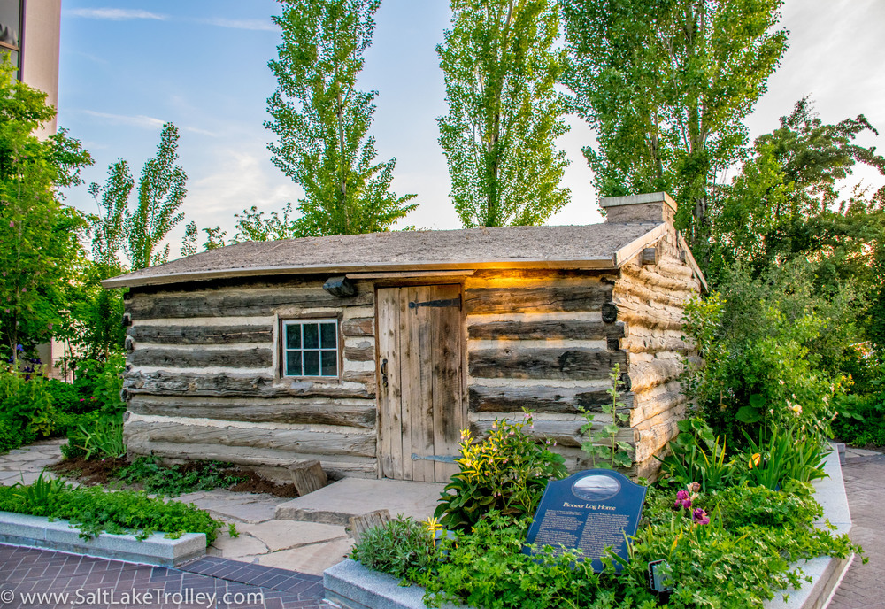 Deuel Pioneer Cabin at Temple Square on Salt Lake Trolley Tour.jpg