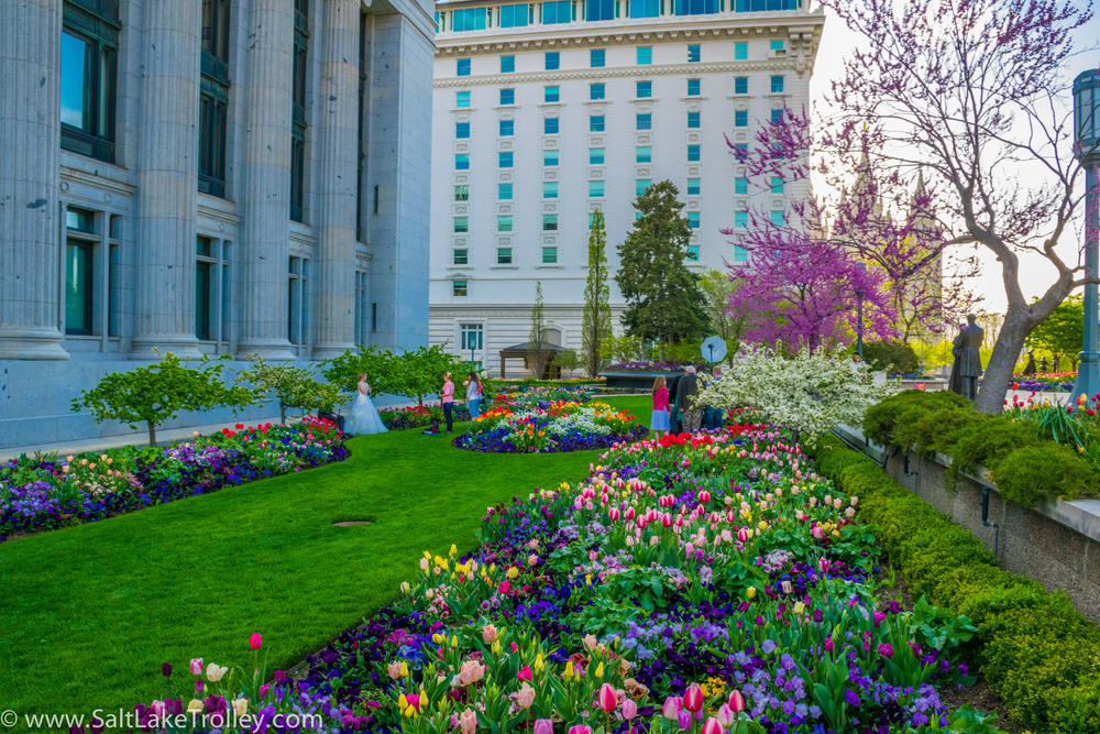 Temple Square gardens on Salt Lake Trolley Tour.jpg