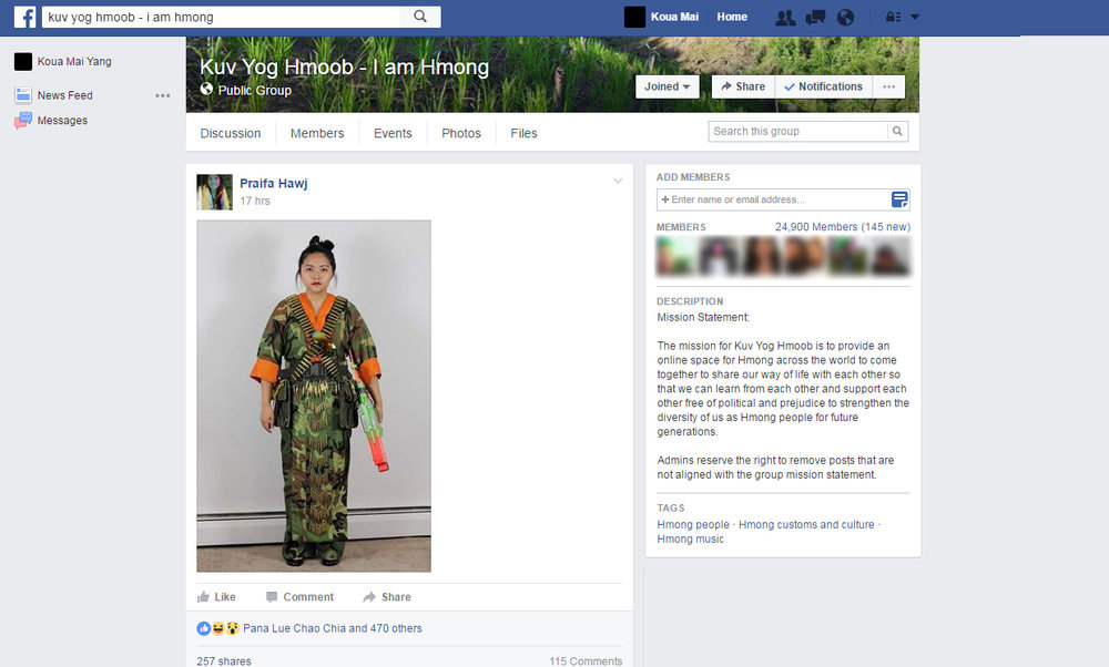 """Praifa Hawj originally writes in her post: """"Xyoo tshiab no pua xav tia nyiam cev khaub ncaw no thiab"""" (Translates: For this New Year, would you like these clothes?) Hawj does not credit me and inserts her own context into the work. Hawj later deletes her comments a couple of hours later."""