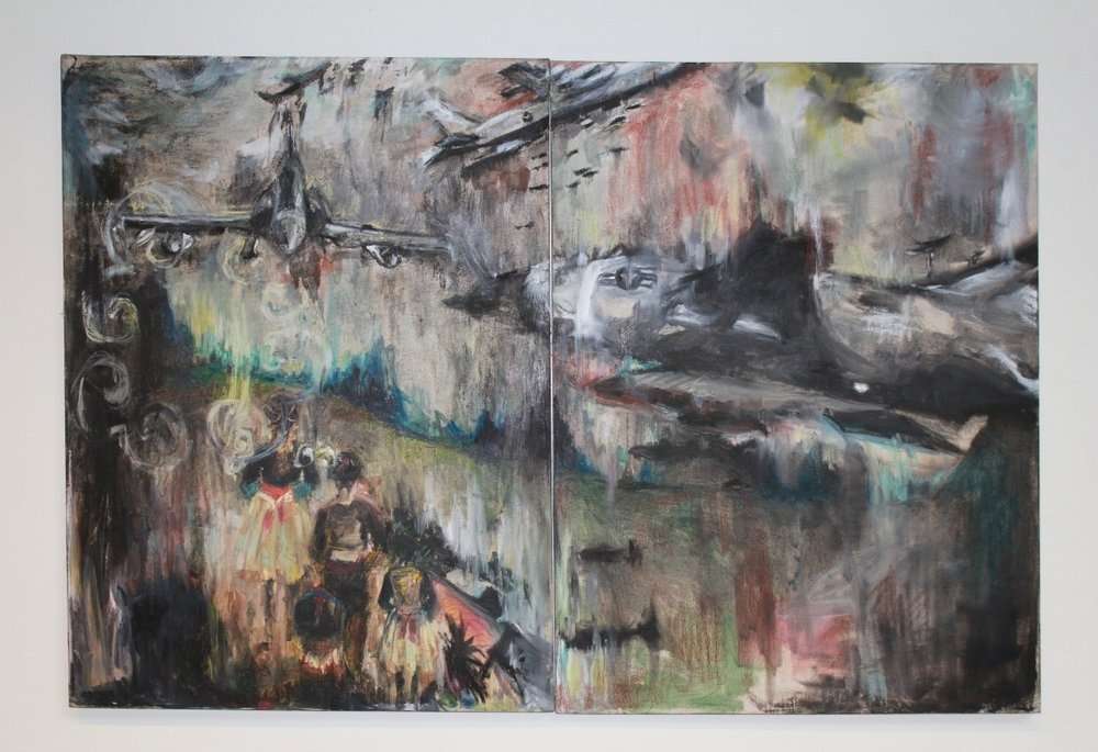 Imaginary Land , 60 inches x 48 inches, oil on drop cloth. 2010