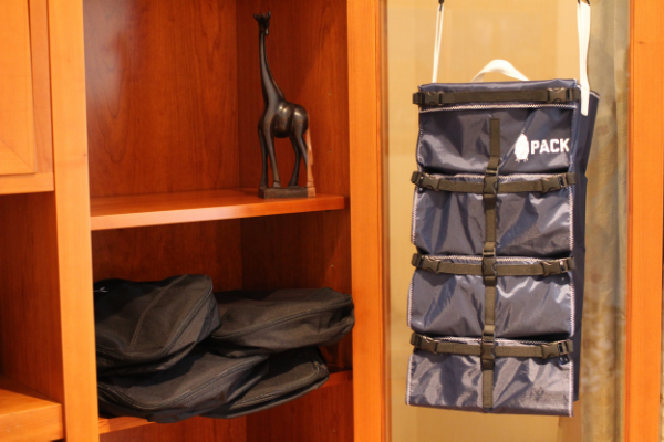 The PACK conveniently hangs on doors, beds, and in closets. No need for scattered Packing Cubes.