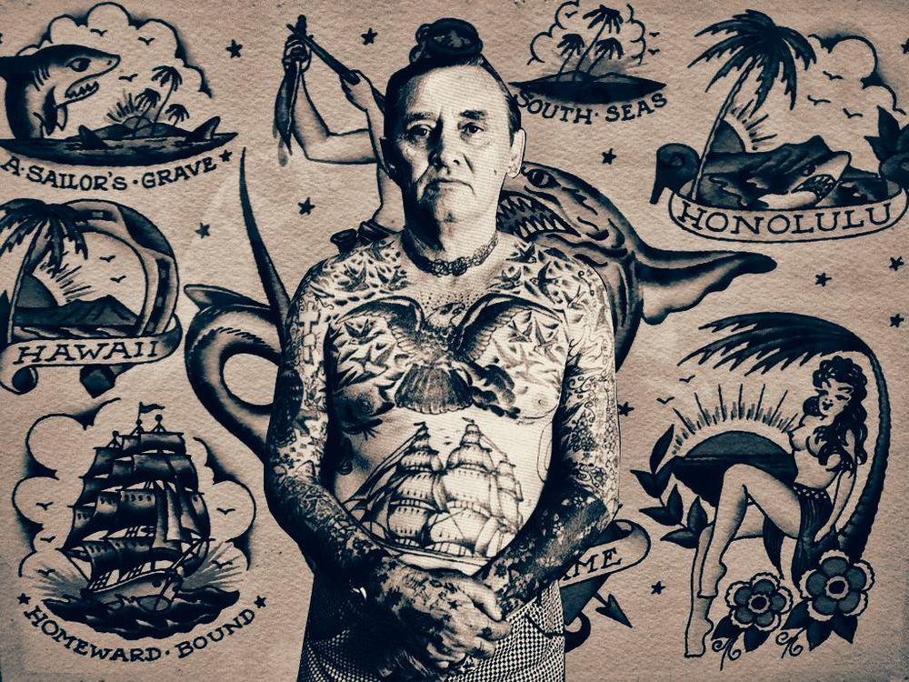 """A carney, gangster, scoundrel...friend. """"Sailor"""" Bill Killingsworth is considered a pioneer in the tattoo world. Many of the stories you hear about Bill consists of bad tattoos and guns. No matter what you've heard however, he was respected by many. Claiming the title of King of Victory Drive, Sailor Bill found himself in a long time war with rival tattoo shop owner Fast Freddie. It is said that t  hey would drive by each other's shops and shoot out windows at times...just to remind each other that the competition wasn't going anywhere; two men fighting for the same nickel.  I remember as early as the 90's, the tattoo industry was not as commercialized as it is today. There were no Miami Ink's and Kat Van D's on your televisions. There was no internet. There were shops found where reality struck most. What's funny too is that it seems that tattoo's skipped a generation. In my day, coming home with a tattoo would mean getting your ass kicked by mom and dad. It was frowned upon by so many. Sure there were many places in the states where getting tatted was common, but unless you were military or of the non-blue-collard life, you just didn't get them. Today, the number of people who have a tattoo is astronomical. It makes you wonder...has it become a fad, or is it truly society's acceptance of changed times?  Flash cred: Sailor Jerry"""