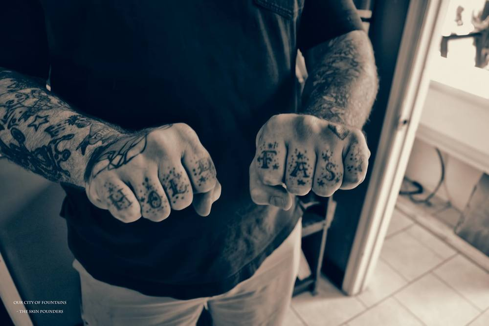 """""""I had visible tattoo's on my hand before I had any other tattoos. At that time...I almost lost my job as a floor guy because I had them tattooed. Even then, the owners were so old-school that you couldn't have anything you couldn't hide from a judge... if you put a coat and tie on, you shouldn't be able to see any tattoo's. Back then, they didn't do those tattoos on anyone. In that time of my life it was 'middle-finger to the world' though. I was wide open."""""""