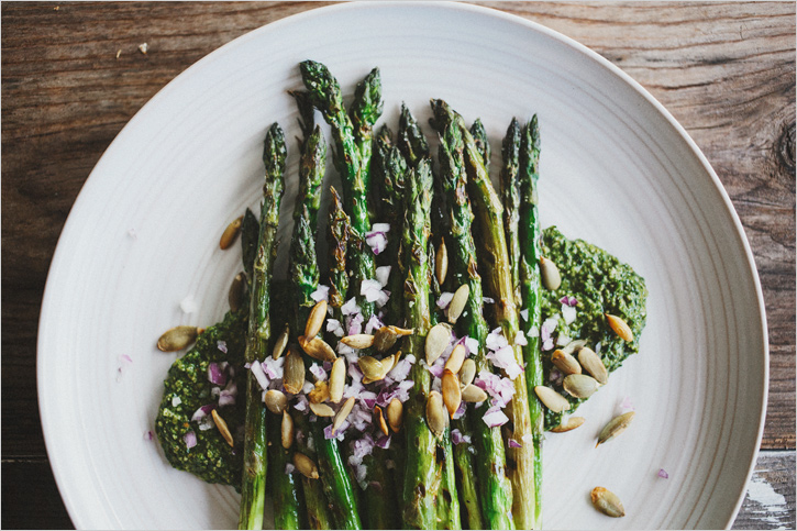 GRILLED ASPARAGUS PLATE + CILANTRO PEPITA PESTO — Sprouted Kitchen