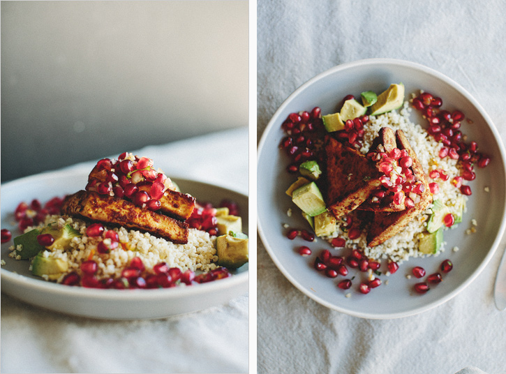 CHILI ROASTED TOFU WITH MINTED POMEGRANATE RELISH . sprouted kitchen