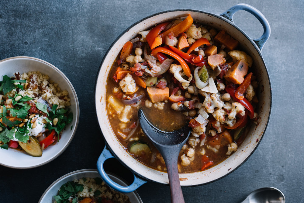 VEGETABLE TAGINE WITH APRICOT COUSCOUS
