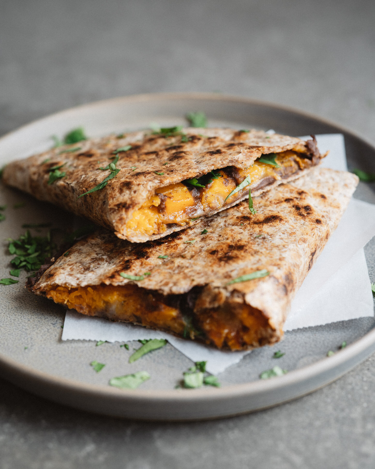 ROASTED BUTTERNUT + BLACK BEAN QUESADILLAS . Sprouted Kitchen