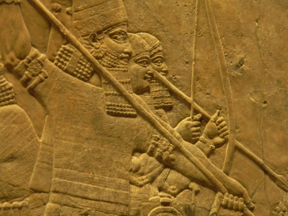 Image 1: Scene from the Royal Lion Hunt, North Palace, Nineveh, as seen at British Museum. Photograph: Krishna Kulkarni/The Review at NYU