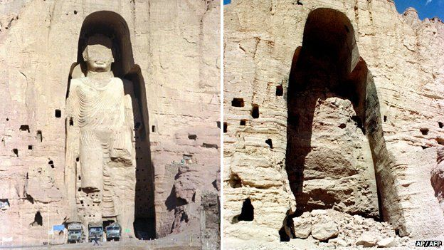 Image 2: One of the two Bamiyan Buddhas, before (left) and after (right) destruction by the Taliban in 2001  .   Photograph: AP/AFP, via  BBC News   . Accessed at    http://www.bbc.com/news/world-asia-31813681