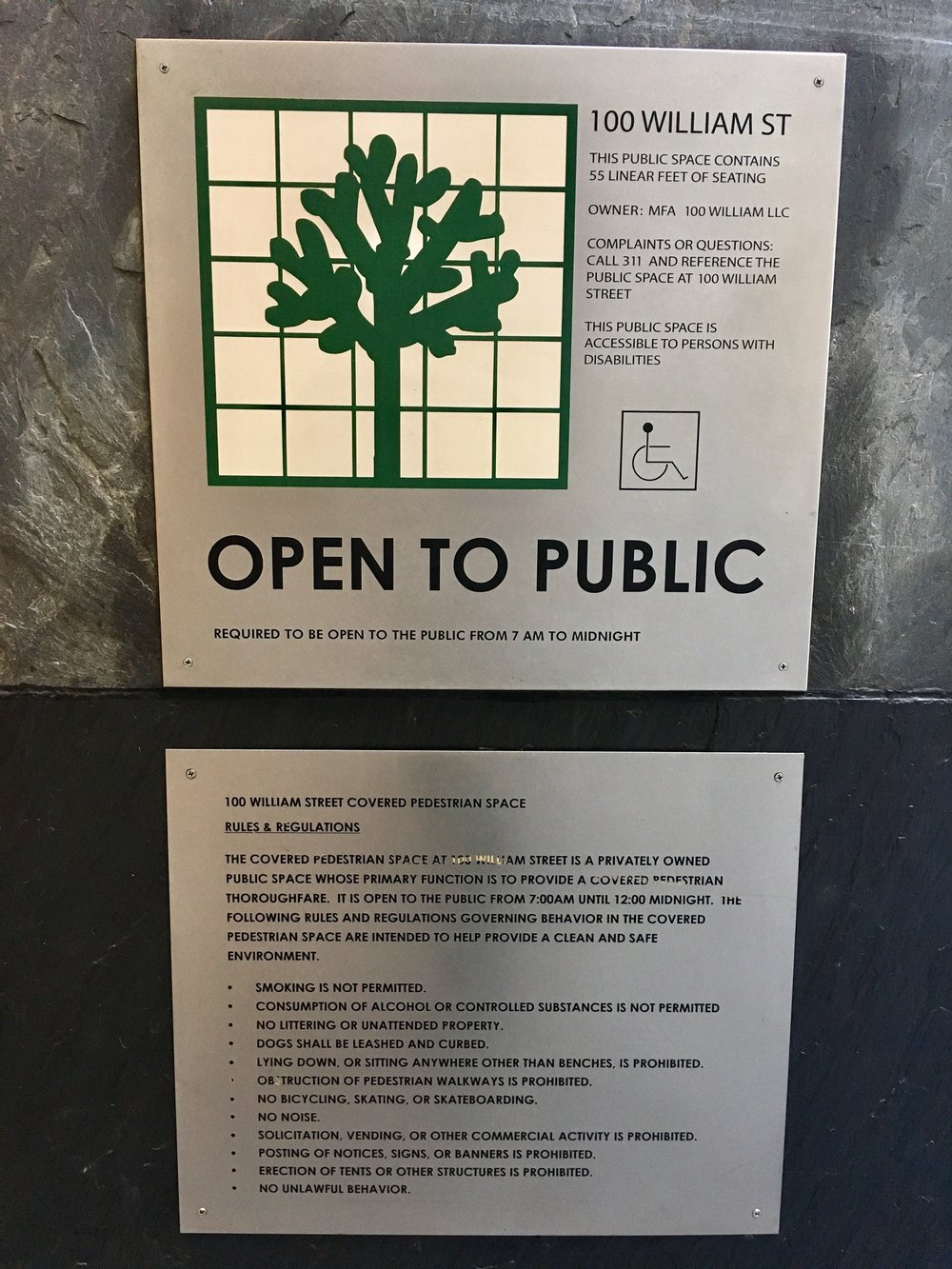 The rules and regulations at 100 William Street