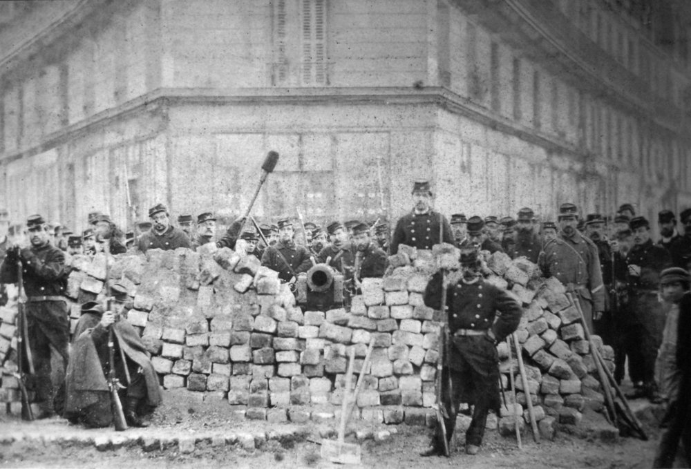 A barricade on the corner of Rue Voltaire and Rue Richard Lenoir