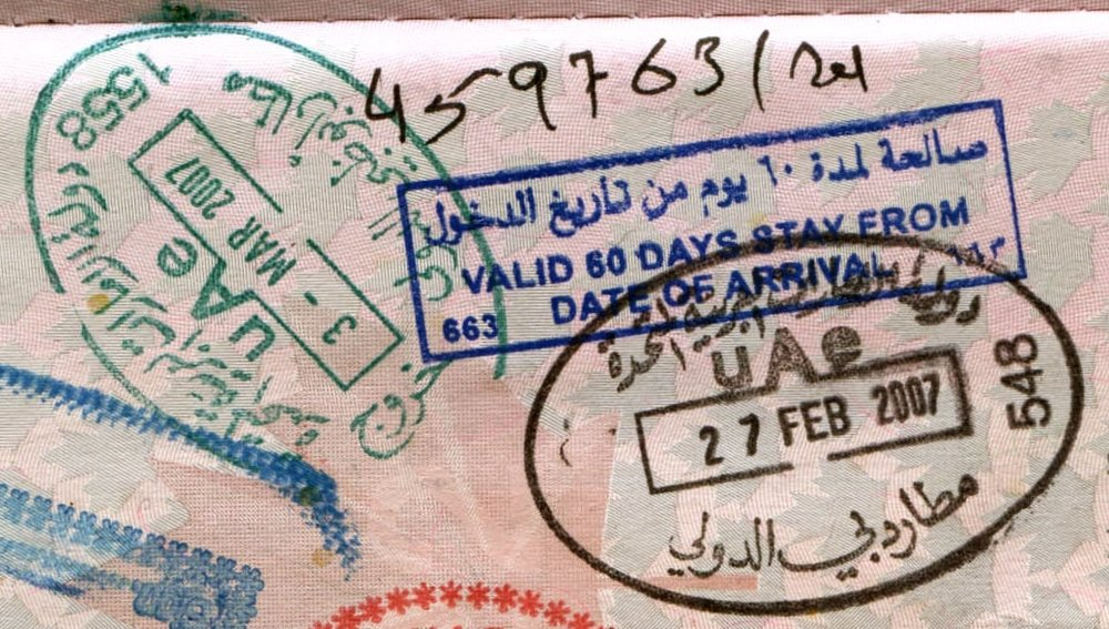 A sixty-day tourist visa for the United Arab Emirates. Photo: Jon Rawlinson