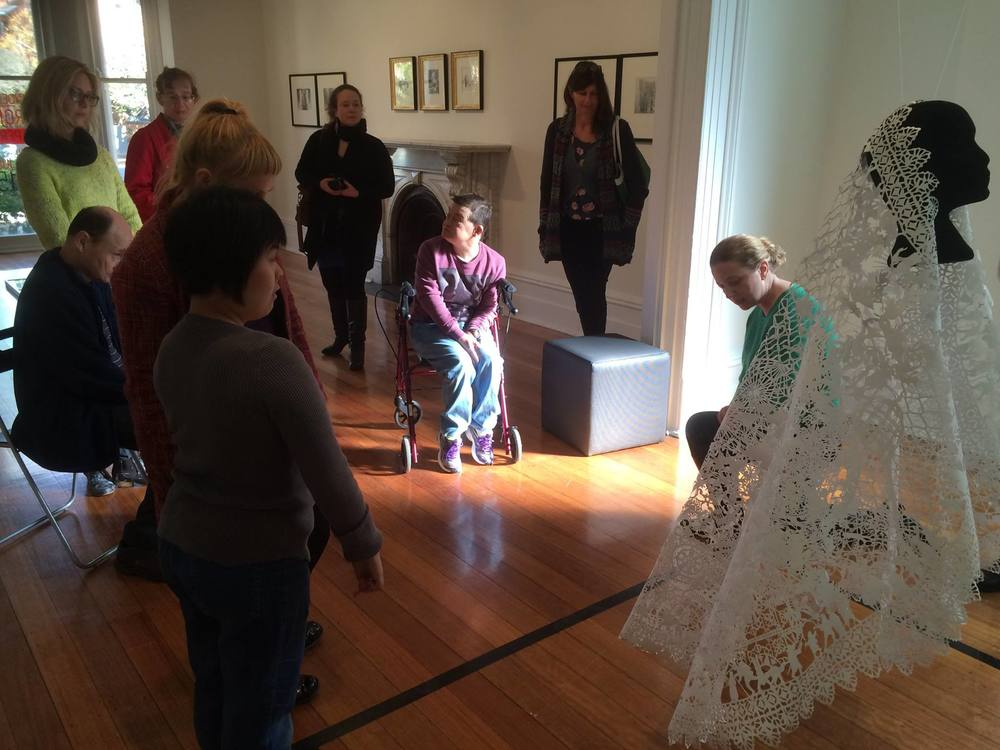 Director of Linden New Art, Melinda Martin, gives Art Circle artists a talk on their current shows, 2015