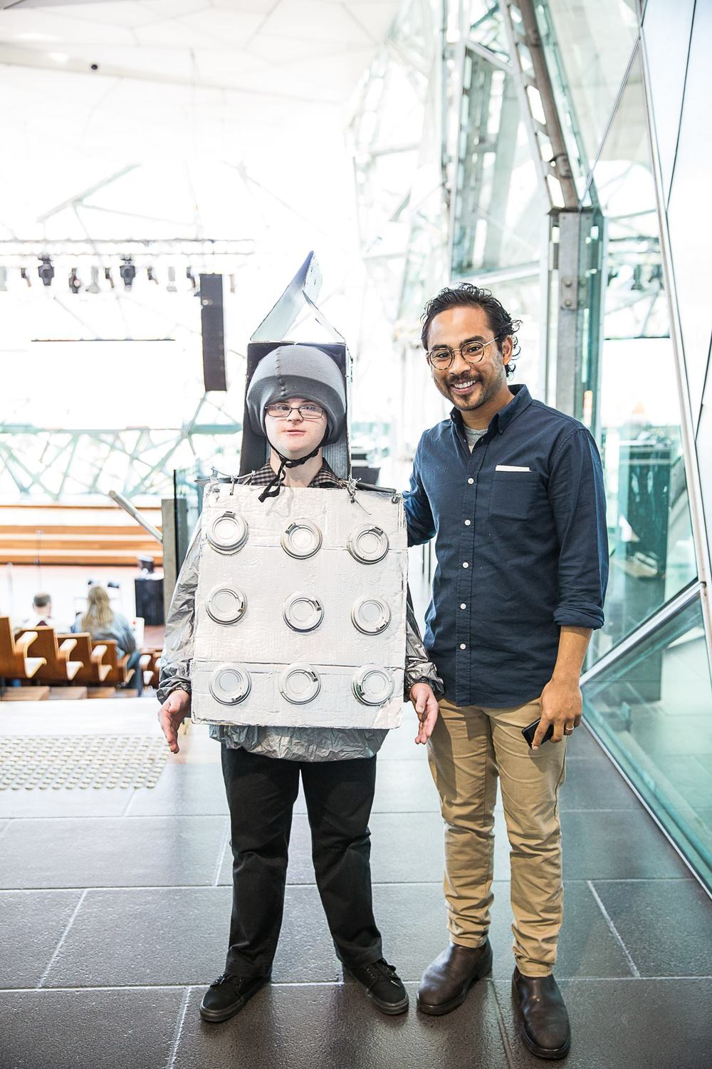 Damien Wilson with the director of No Vacancy Gallery, Andrew Chew, during the Connected Awards Ceremony, 2014