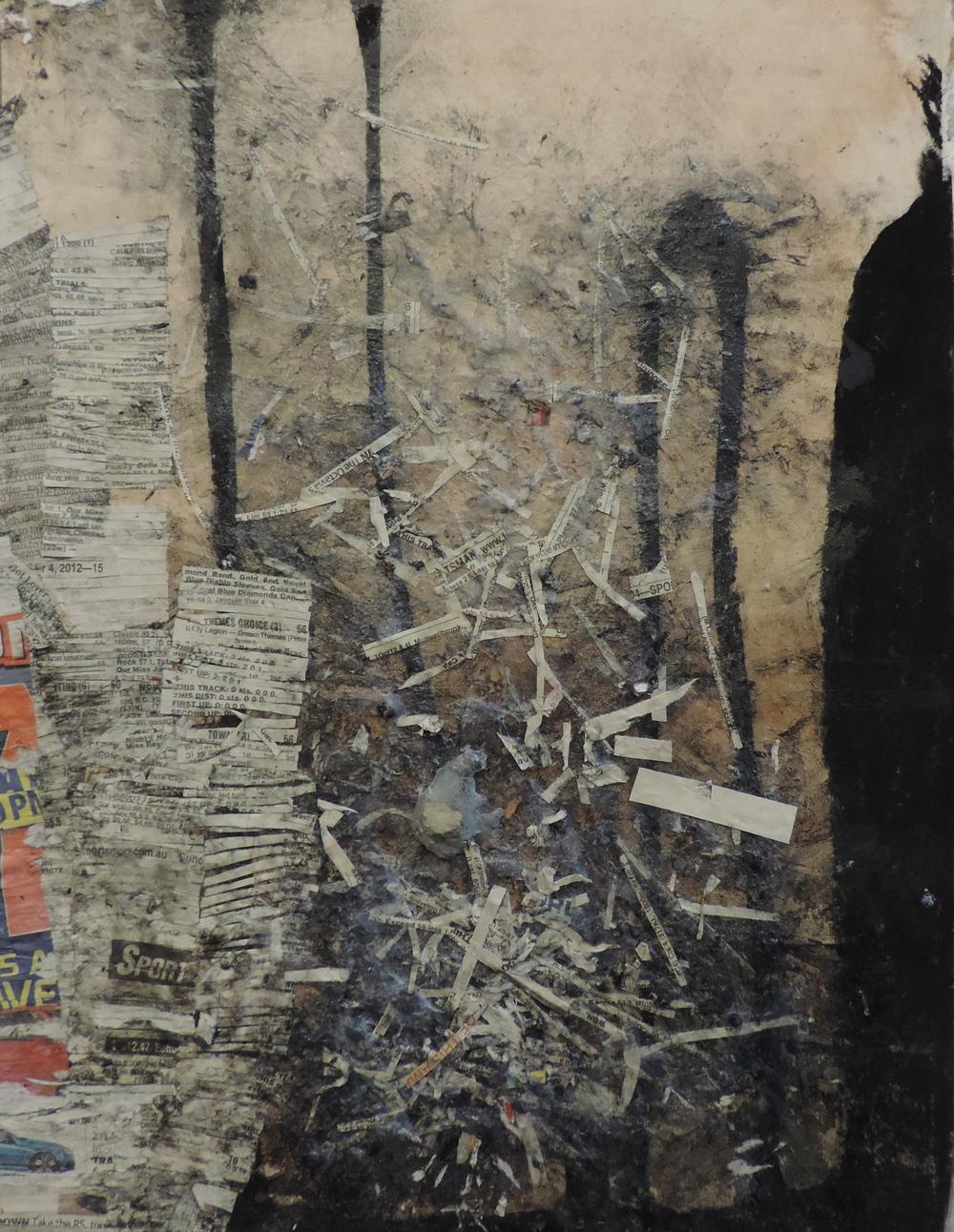 Newspaper Tree, newspaper, glue and charcoal, Sammy Besley, 2014
