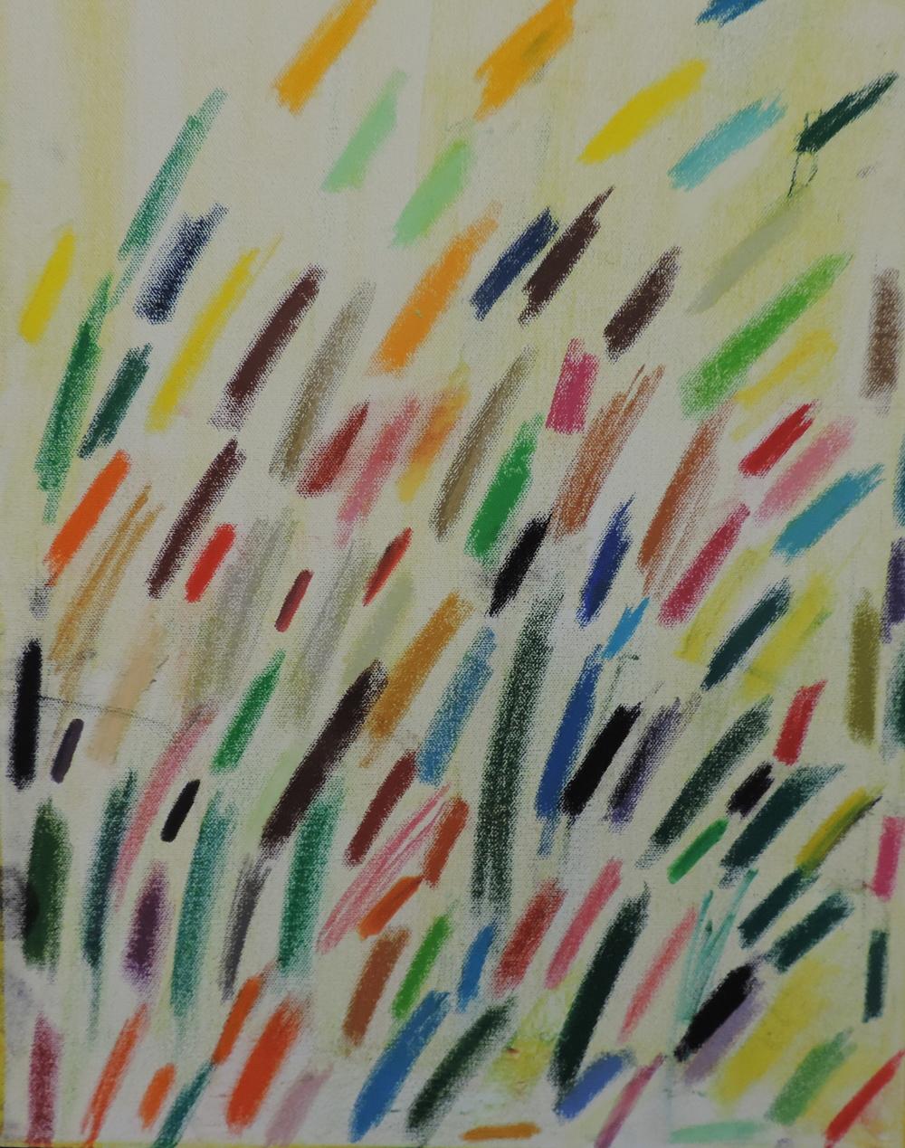 Coloured Light Bulbs, oil pastel on canvas, Trevor Fitzgerald, 2014