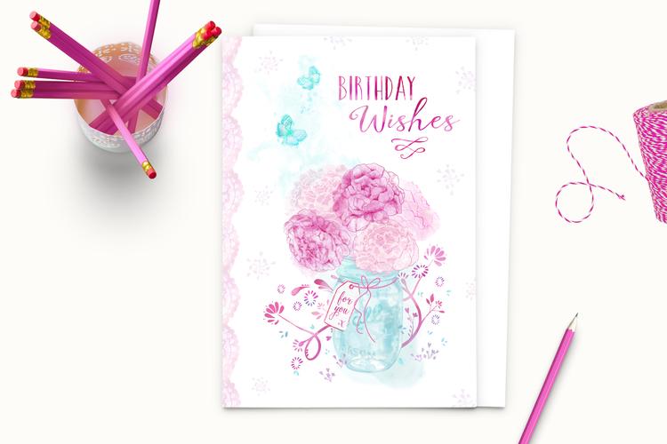 Peony Jar Birthday Wishes A5 Greeting Card