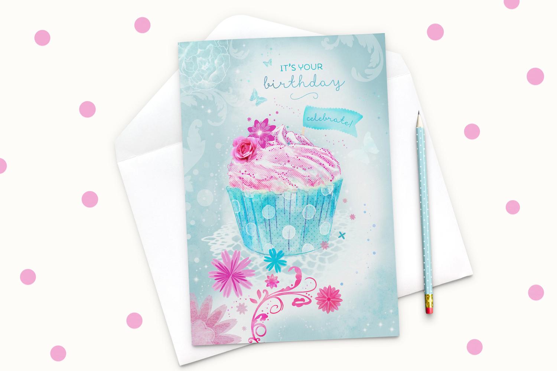 Fleur Cupcake A5 Greeting Card Martha Bowyer Illustration