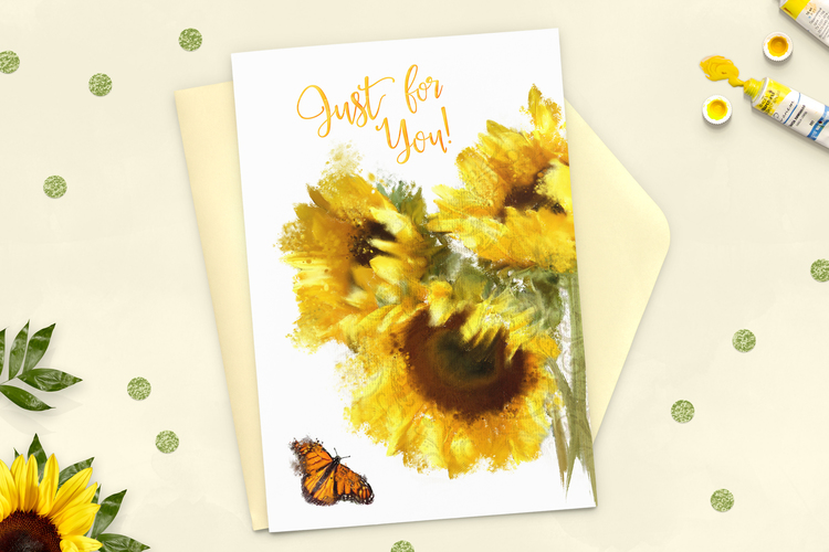 Just for you sunflower greeting card martha bowyer illustration just for you sunflower greeting card m4hsunfo