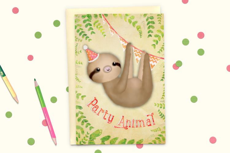 Party Animal Sloth Birthday Card Martha Bowyer Illustration