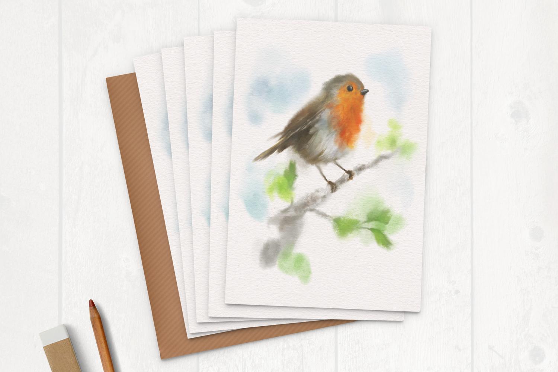 Watercolour Robin Greeting Card Multipack Martha Bowyer