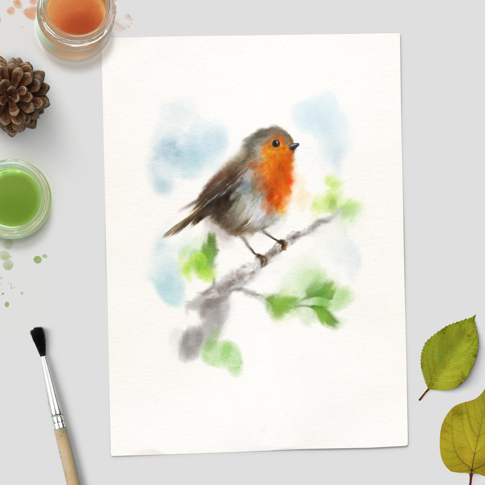 Watercolour Robin - Unframed Print Mockup 2.jpg