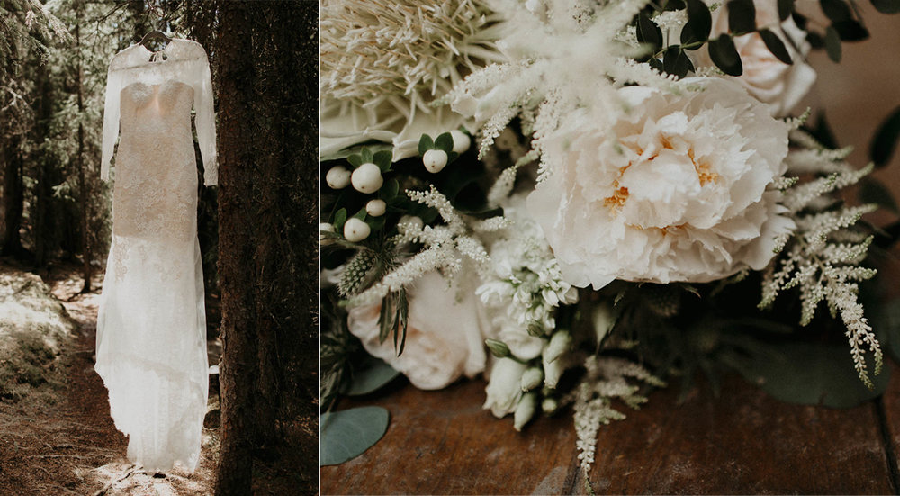 Moody getting ready images of Vera Wang lace wedding dress and Willow Flower Co bouquet in the forest | Banff Elopement Photographer Kandice Breinholt