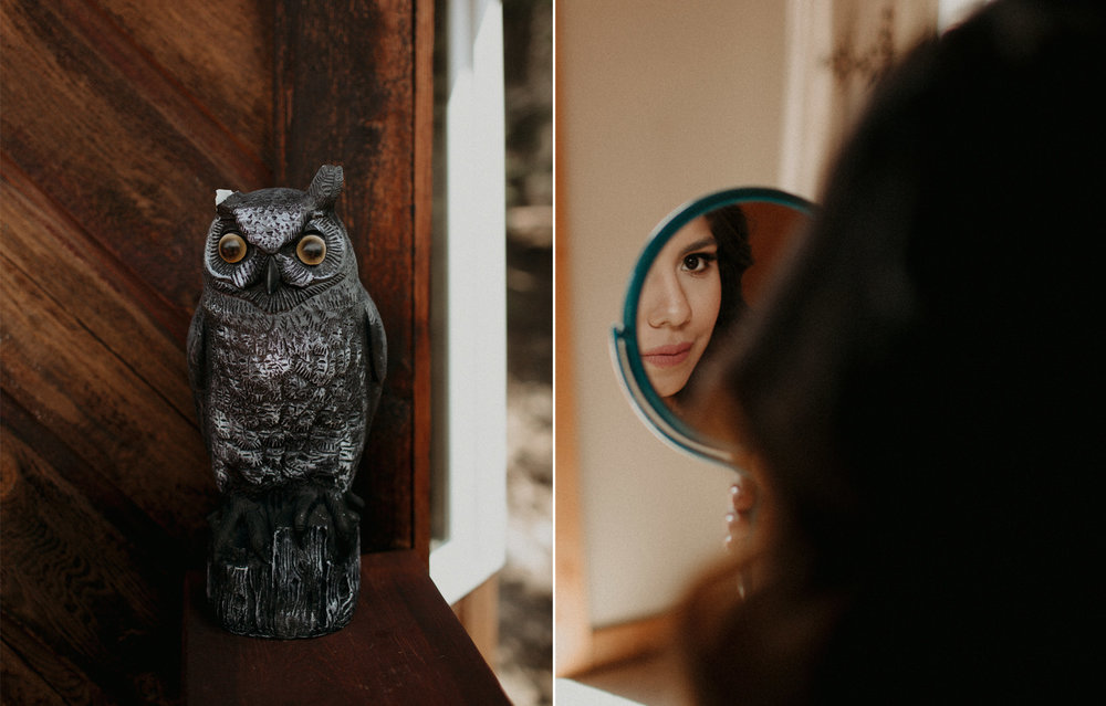Moody getting ready images of wedding details in a cabin in the forest | Banff Elopement Photographer Kandice Breinholt