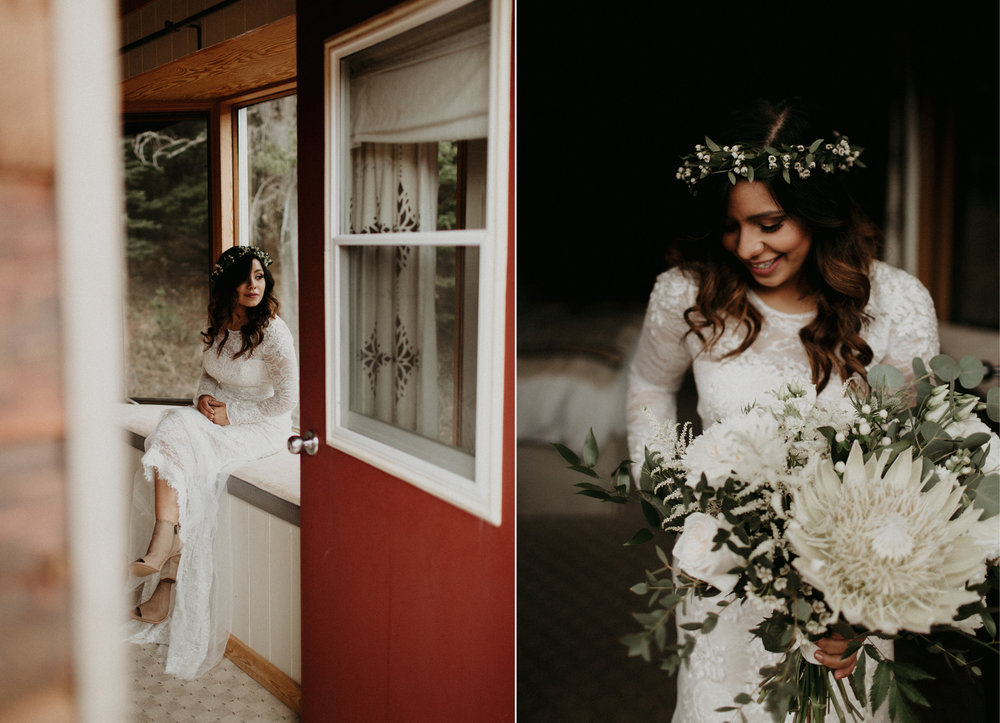 Moody portraits of bride in Vera Wang lace wedding dress and Willow Flower Co flower crown in a cabin in the forest | Banff Elopement Photographer Kandice Breinholt