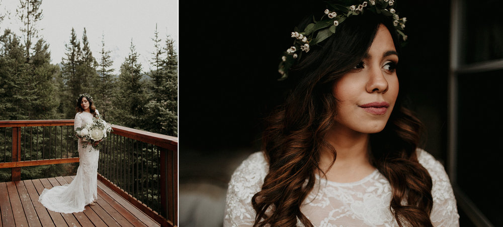 Moody portraits of bride in Vera Wang lace wedding dress and Willow Flower Co flower crown and white and green bouquet in a cabin in the forest | Banff Elopement Photographer Kandice Breinholt