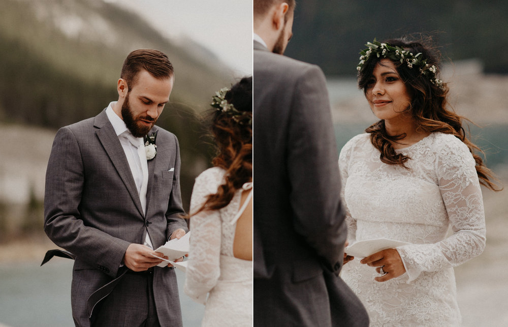 Sharing emotional vows next to a lake | Elope in Banff | Banff Elopement Photographer Kandice Breinholt