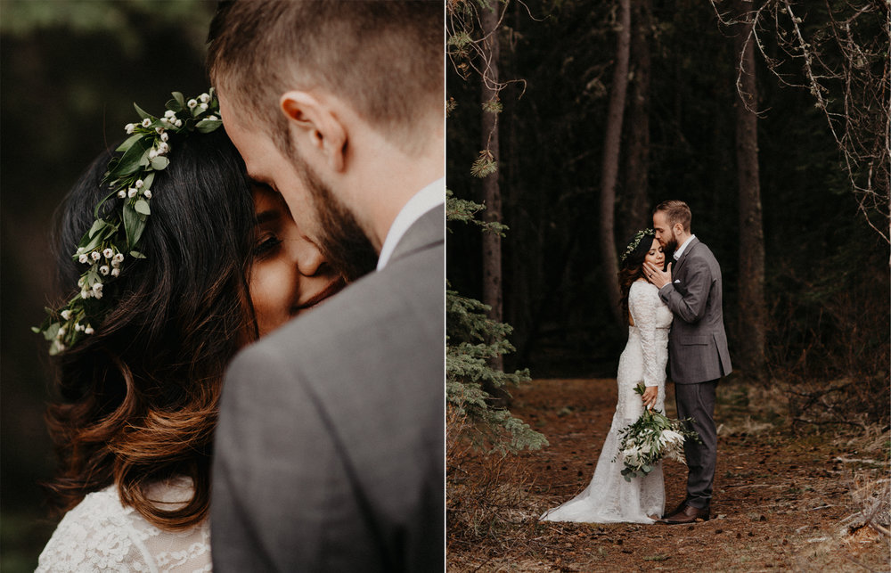 Banff forest elopement | Banff Elopement Photographer Kandice Breinholt | Vera Wang Lace Wedding Dress and Willow Flower Co neutral white and green bouquet and flower crown