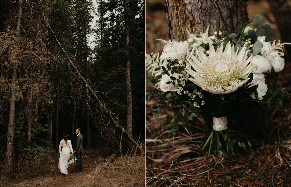 Willow Flower co bouquet and Banff forest elopement | Banff Elopement Photographer Kandice Breinholt