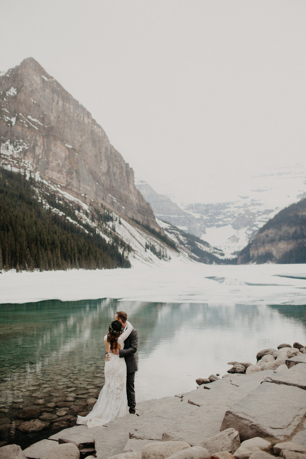 Lake Louise Elopement | Elope in Banff | Banff Adventure Elopement Photographer Kandice Breinholt | Willow Flower Co Bouquet and Flower Crown