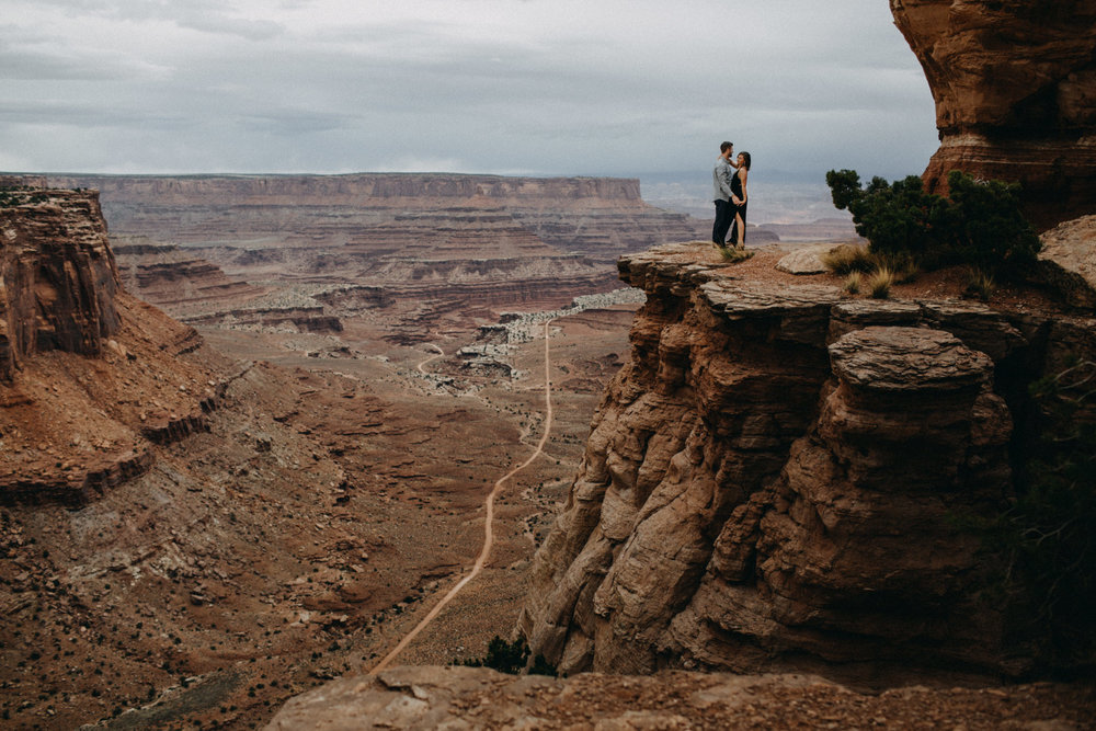 Canyonlands cliffside adventure engagement session with Natalie and Colby in Moab, Utah