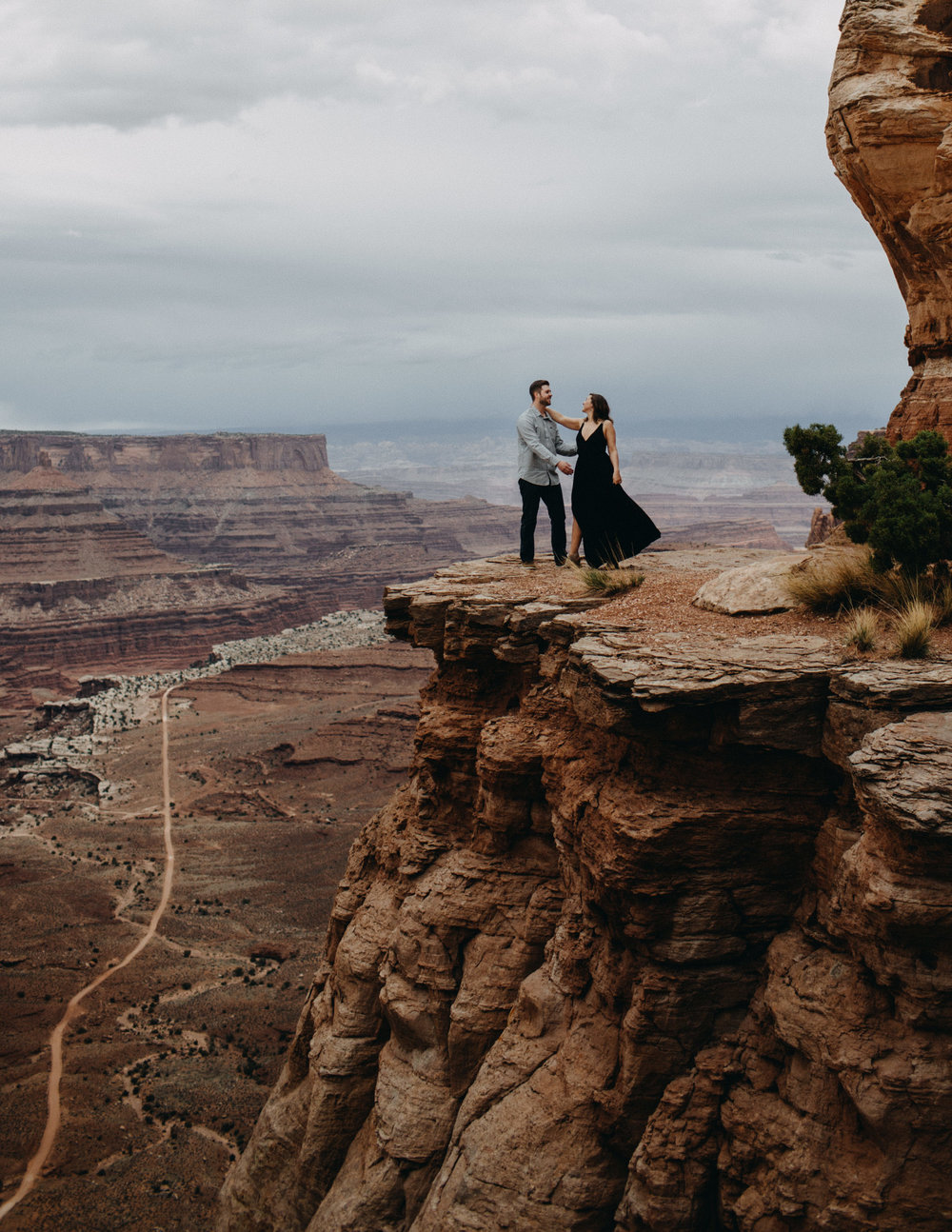 Epic adventure engagements on a cliffside in the desert | Elope in Canyonlands | Moab Elopement and Engagement Photographer Kandice Breinholt