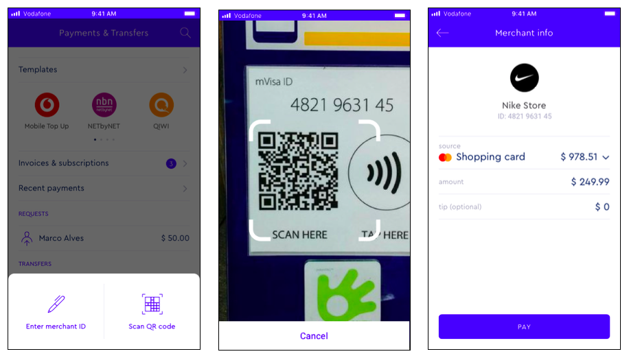 Sample screens of an mVisa payment process