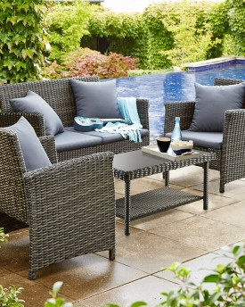 DEL TERRA ARGYLE 4 PIECE WICKER LOUNGE SETTING