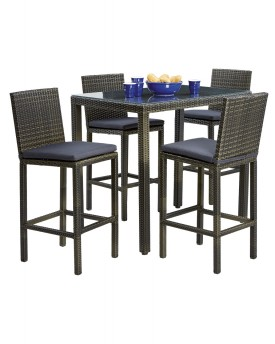DEL TERRA ARGYLE 5 PIECE WICKER BAR SETTING